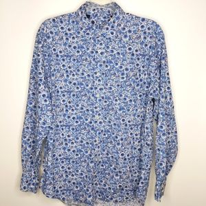 Boden Tunic Top XL Blue Floral Button Front Long S